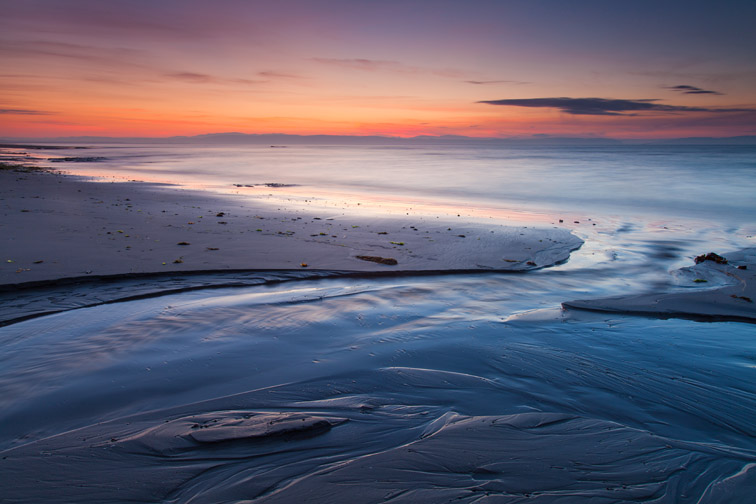Beach at dawn, Moray coast, Scotland, UK
