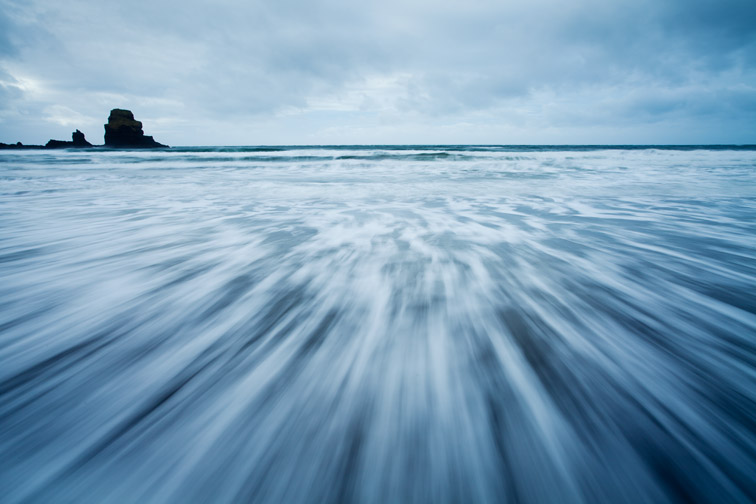 Receding wave pattern on beach, Talisker Bay, Isle of Skye, Scotland, UK