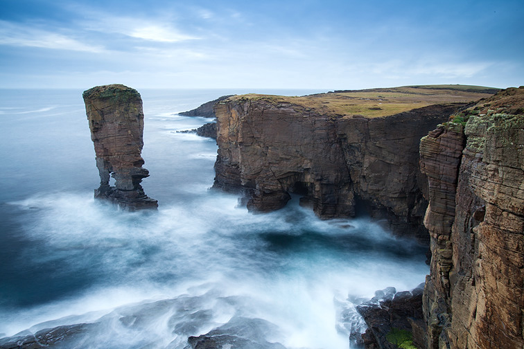 Sea stack and high cliffs near Yesnaby, Orkney, Scotland