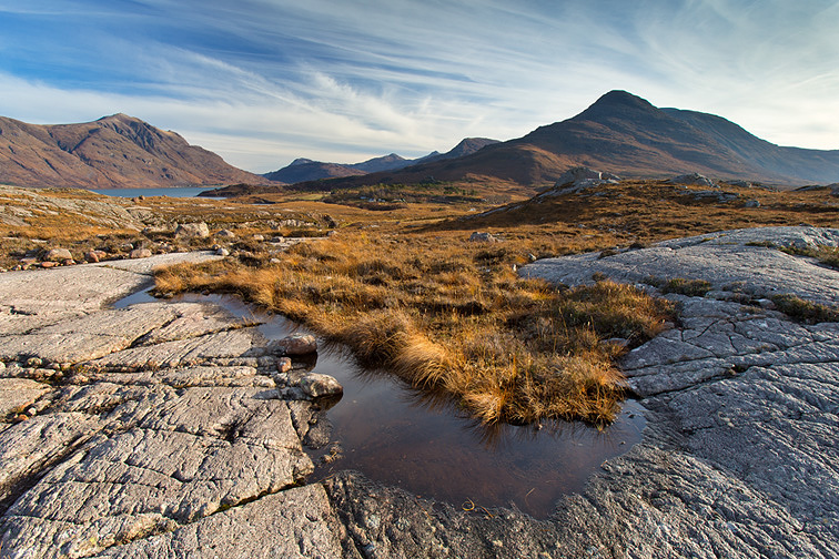 Beinn Damph and Liathach from above Upper Loch Torridon, Wester Ross, Scotland