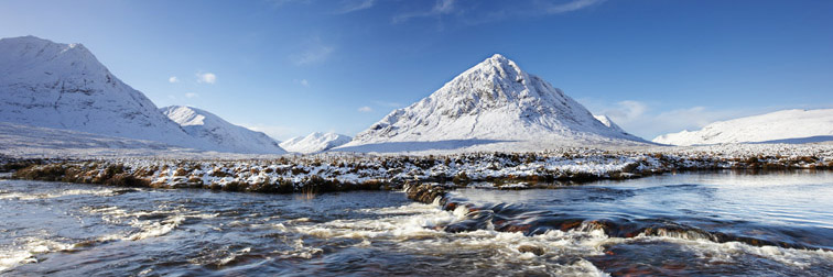 Buachaille Etive Mor & River Etive in winter. Highland. Scotland. November 2006.