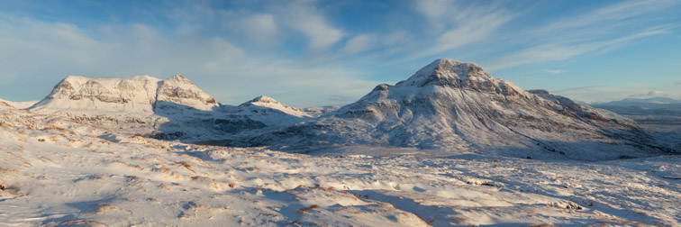 Cul Mor (left) and Cul Beag in winter, Coigach, North-west Scotland, UK, December