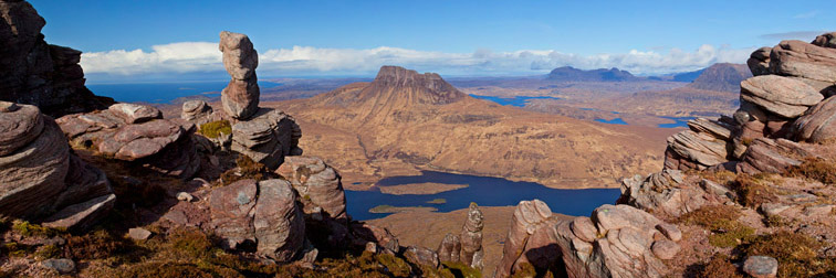 View from summit of Sgorr Tuath towards Stac Pollaidh, Coigach and Assynt, Wester Ross, Scotland