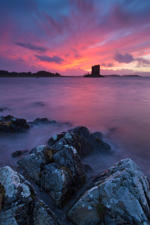Castle Stalker at sunset, Lismore island, Argyll, Scotland, UK