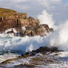Waves crashing over rocks, coastline near Point of Stoer, Assynt, North west Scotland